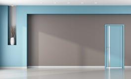 Minimalist empty brown and blue interior. Minimalist brown and blue interior with closed modern door - rendering vector illustration
