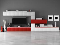 Minimalist empty living room. With cabinet and lcd tv royalty free illustration