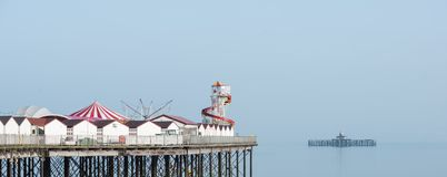 Minimalist fine art panoramic landscape image of colorful pier i royalty free stock photos