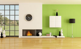 Minimalist fireplace. Empty contemporary interior with minimalist fireplace -rendering Stock Photos