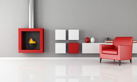 Minimalist fireplace in a living room. Minimalist living room with fashion fireplace - rendering Royalty Free Stock Image