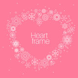 Minimalist floral background heart frame Royalty Free Stock Photography