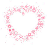 Minimalist floral background heart frame Royalty Free Stock Images