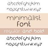 Minimalist Font Bold And Regular. Minimalism Style Sans Serif. Typeface Set. Trendy Mono Line Latin Alphabet. Lowercase. Vector royalty free illustration