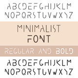 Minimalist Font Bold And Regular. Minimalism Style Sans Serif. Typeface Set. Trendy Mono Line Latin Alphabet. Uppercase. Vector Stock Image