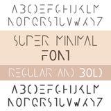 Minimalist Font Bold And Regular. Minimalism Style Sans Serif Vector Illustration