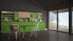 Minimalist gray and green wooden kitchen, big panoramic window, Stock Images