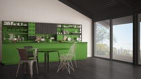 Minimalist gray and green wooden kitchen, big panoramic window, Royalty Free Stock Image