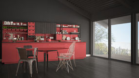 Minimalist gray and red wooden kitchen, big panoramic window, cl Royalty Free Stock Photography