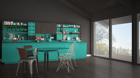 Minimalist gray and turquoise wooden kitchen, big panoramic wind Royalty Free Stock Photo