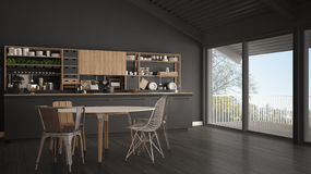 Minimalist gray wooden kitchen, big panoramic window, classic sc Stock Photography