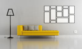 Minimalist gray and yellow lounge Stock Photo