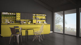 Minimalist gray and yellow wooden kitchen, big panoramic window, Royalty Free Stock Images