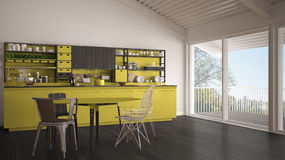 Minimalist gray and yellow wooden kitchen, big panoramic window, Royalty Free Stock Image
