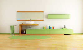 Minimalist green bathroom Stock Images