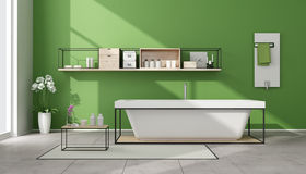 Minimalist green bathroom Stock Image