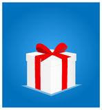 Minimalist Greeting Card with Gift Box Blue Background 1 Stock Image