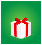 Minimalist Greeting Card with Gift Box Green Background 2 Royalty Free Stock Images