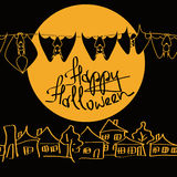 Minimalist Halloween illustration with bats Stock Photo