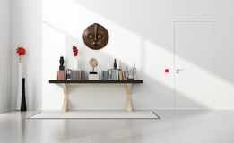 Minimalist home entance with consolle. Minimalist home entance with classic and closed door - 3D Rendering stock illustration