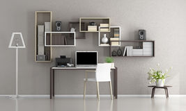 Minimalist home office. With laptop,printer and bookcase on wall - 3d rendering vector illustration