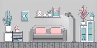 Minimalist inre av vardagsrummet i en modern plan stil royaltyfri illustrationer