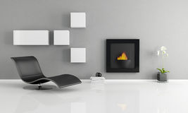 Minimalist interior. With essential fireplace - rendering Royalty Free Stock Photos