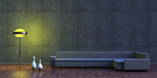 Minimalist interior. A minimalist interior with sofa or couch, lamp and vases Stock Photos