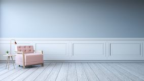 Minimalist interior design,white room with pink chair on concrete flooringwhite vector illustration