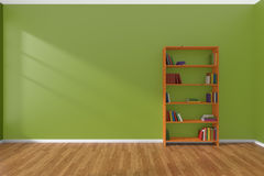 Minimalist interior of empty green room with bookcase Royalty Free Stock Image
