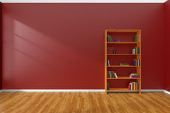 Minimalist interior of empty red room with bookcase Stock Image