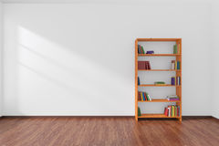 Minimalist interior of empty white room with bookcase. Stock Photography
