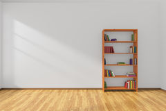 Minimalist interior of empty white room with bookcase Stock Images