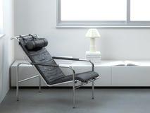 Minimalist interior with modern leather armchair stock illustration