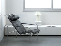 Minimalist Interior With Modern Leather Armchair Stock Photography