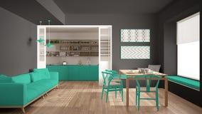 Minimalist kök och vardagsrum med soffan, tabellen och stolar, Arkivfoton