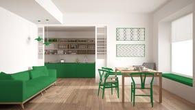 Minimalist kök och vardagsrum med soffan, tabellen och stolar, Arkivbild