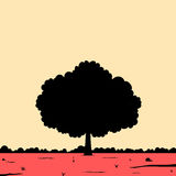 Minimalist landscape of silhouette of a single big tree. Minimalist landscape scene of silhouette of a single big tree royalty free illustration