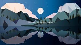 Minimalist landskap i kalla färger med täckte höga berg royaltyfri illustrationer