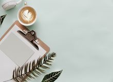 Minimalist Lifestyle For Website, Marketing, Social Media with coffee. And clipboard royalty free stock images