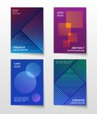 Minimalist line dynamic halftone. Abstract geometric vector modern backgrounds set. Trendy banner or brochure with halftone geometric illustration Royalty Free Stock Photo