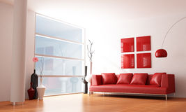 Minimalist living room. Red and white minimalist living room - rendering vector illustration