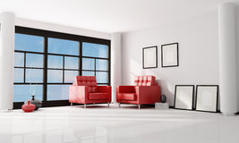 Minimalist living room royalty free stock photos