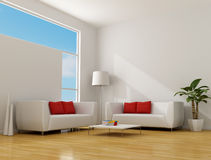 Minimalist living room. White minimalist lounge with two contemporary sofa with red pillow - rendering stock illustration