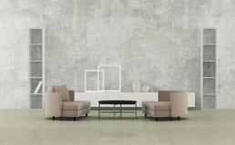 Minimalist living room. Modern minimalist living room with sofas stock illustration