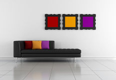 Minimalist lounge. Minimalist living room with black couch and colorful frames stock illustration