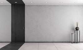 Minimalist living room with closed door Stock Images