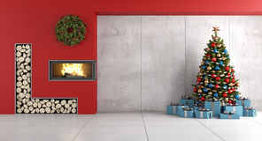 Minimalist Living room with fireplace and christmas tree. Modern living room with red fireplace , christmas tree and gif box- 3d rendering Stock Photo