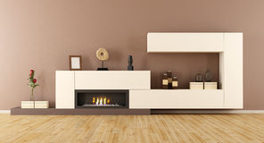 Minimalist living room with  fireplace Stock Images