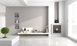 Minimalist living room with fireplace Stock Photo